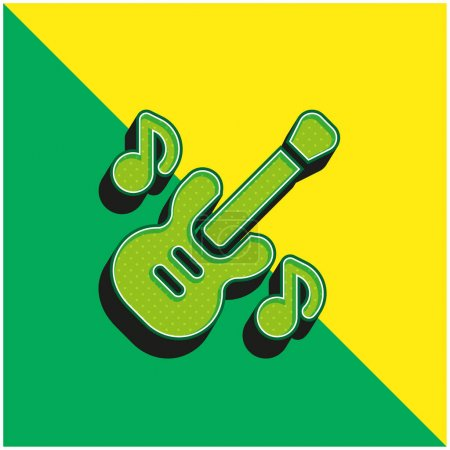 Illustration for Bass Guitar Green and yellow modern 3d vector icon logo - Royalty Free Image