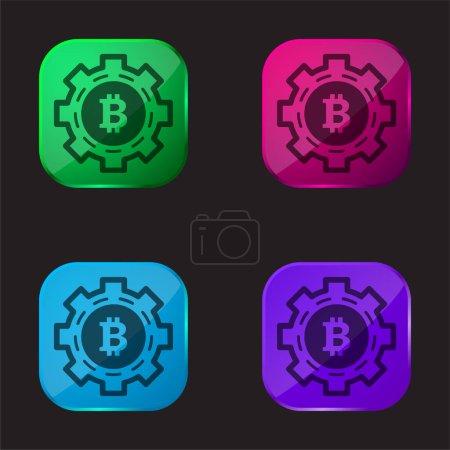 Illustration pour Bitcoin Mechanic Symbol icône bouton en verre de quatre couleurs - image libre de droit
