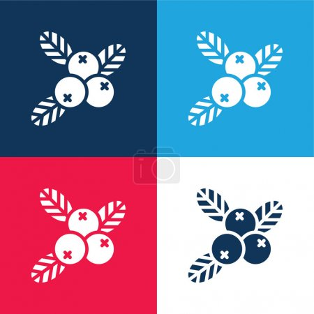 Illustration for Berries blue and red four color minimal icon set - Royalty Free Image