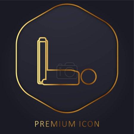 Illustration pour Garçon couché avec les jambes jusqu'à la ligne d'or logo premium ou icône - image libre de droit