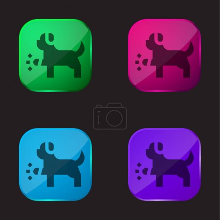 Illustration for Animal four color glass button icon - Royalty Free Image