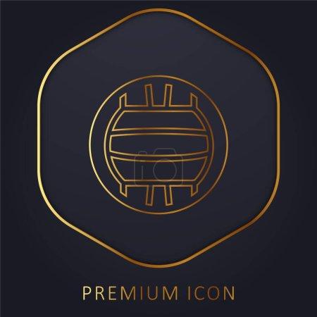 Ballon de basket-ball ligne d'or logo premium ou icône