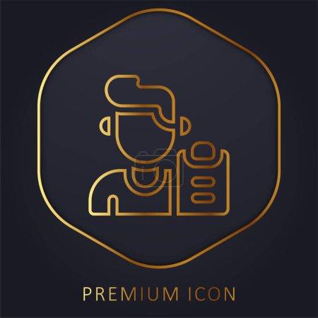 Illustration for Boy golden line premium logo or icon - Royalty Free Image