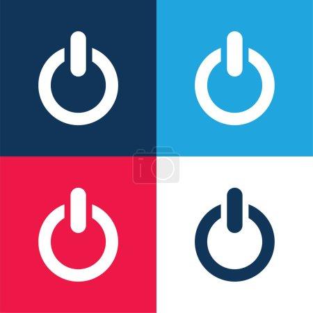 Illustration pour Big Power Bouton bleu et rouge quatre couleurs ensemble d'icône minimale - image libre de droit