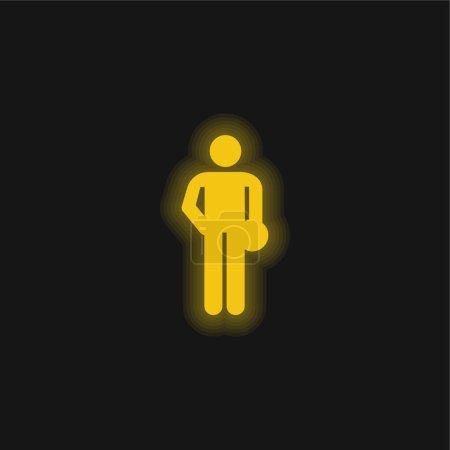 Bowling Silhouette gelb leuchtende Neon-Symbol