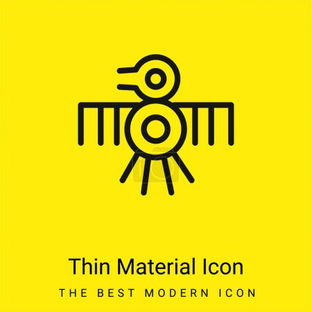 Illustration for Bird Old Indian Design Of Thin Lines minimal bright yellow material icon - Royalty Free Image