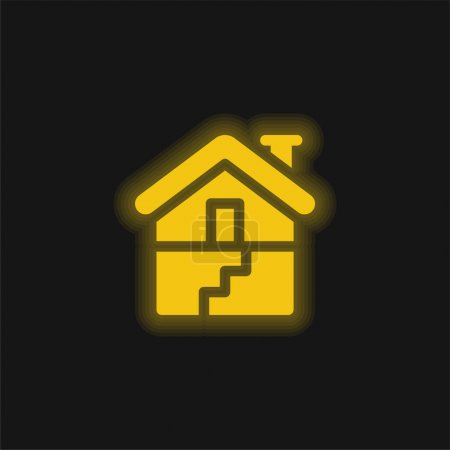 Photo pour Sous-sol jaune brillant icône néon - image libre de droit
