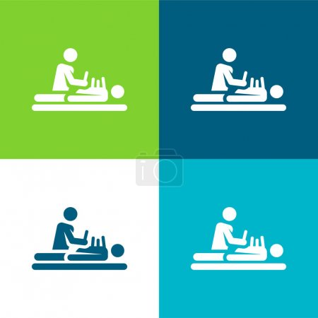 Illustration for Acupuncture Flat four color minimal icon set - Royalty Free Image