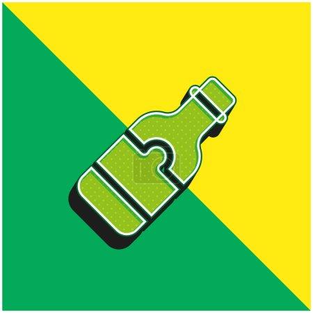 Photo pour Bouteille de bière Logo vectoriel 3d moderne vert et jaune - image libre de droit