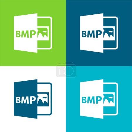 Illustration pour Format de fichier ouvert BMP Ensemble d'icônes minimal plat à quatre couleurs - image libre de droit
