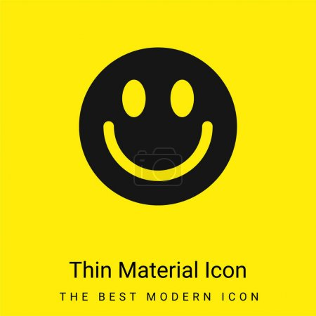 Illustration for Big Smiley Face minimal bright yellow material icon - Royalty Free Image