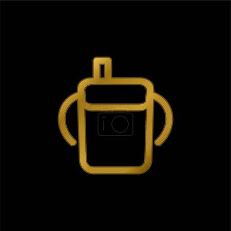 Photo pour Bébé bouteille à boire contour avec poignées latérales plaqué or icône métallique ou logo vecteur - image libre de droit