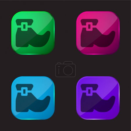 Boot four color glass button icon