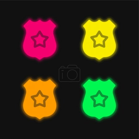 Illustration for Badge four color glowing neon vector icon - Royalty Free Image