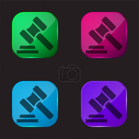 Illustration pour Vente aux enchères icône bouton en verre de quatre couleurs - image libre de droit