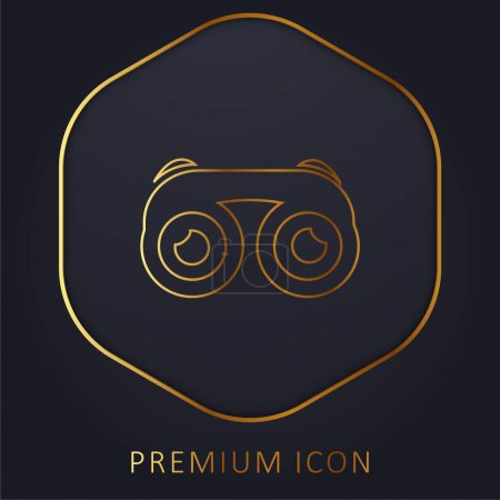 Illustration pour Jumelles avec Yeux ligne d'or logo premium ou icône - image libre de droit