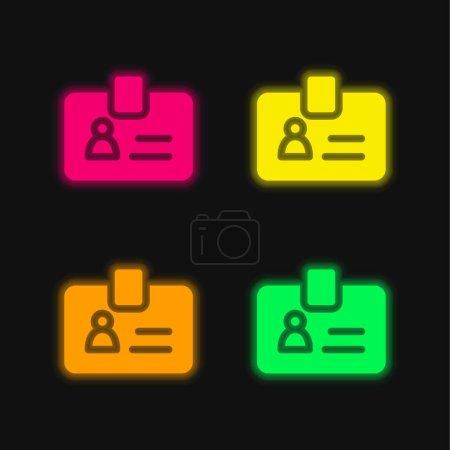 Illustration pour Badge quatre couleurs rougeoyantes icône vectorielle néon - image libre de droit