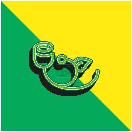 Flor de campana con el contorno de la hoja verde y amarillo moderno vector 3d icono logo