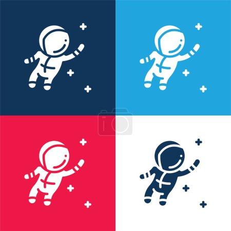 Illustration pour Ensemble d'icônes minime bleu astronaute et rouge quatre couleurs - image libre de droit