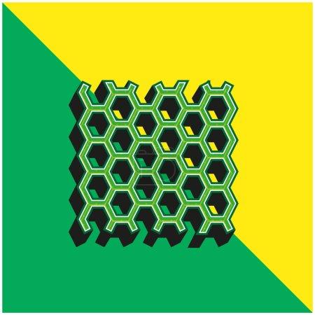 Illustration pour Texture du panneau d'abeilles Logo vectoriel 3D moderne vert et jaune - image libre de droit