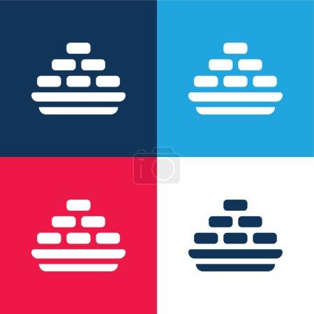 Illustration pour Ensemble d'icônes minime Barfi bleu et rouge quatre couleurs - image libre de droit