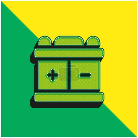 Illustration for Battery Green and yellow modern 3d vector icon logo - Royalty Free Image