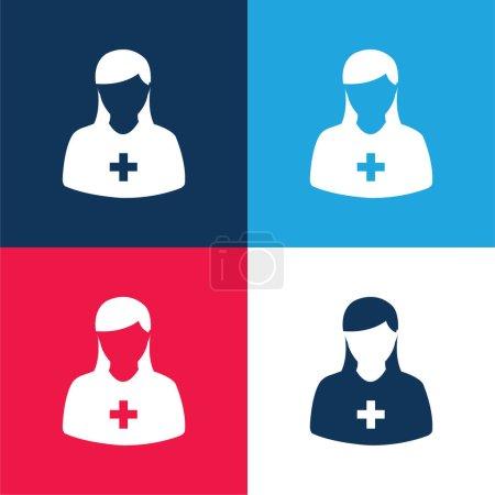 Illustration pour Ajouter Avatar femelle bleu et rouge quatre couleurs minimum jeu d'icônes - image libre de droit