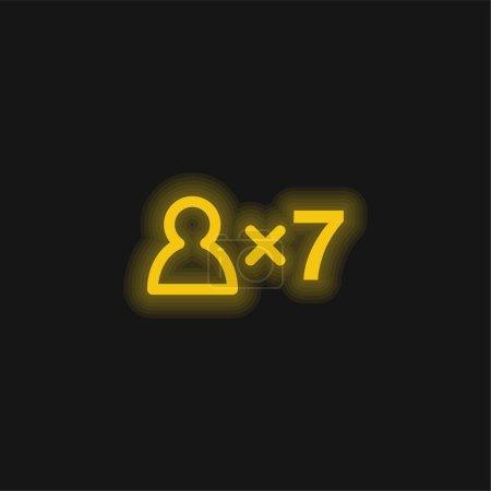 Photo pour Symbole 7 personnes Icône néon jaune brillant - image libre de droit