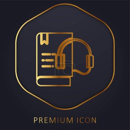 Illustration for Audio Book golden line premium logo or icon - Royalty Free Image