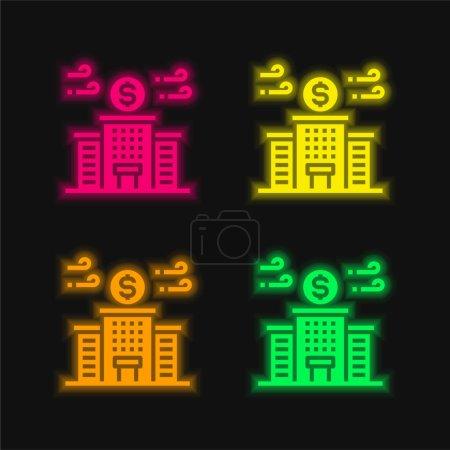 Banco de cuatro colores brillante icono de vectores de neón