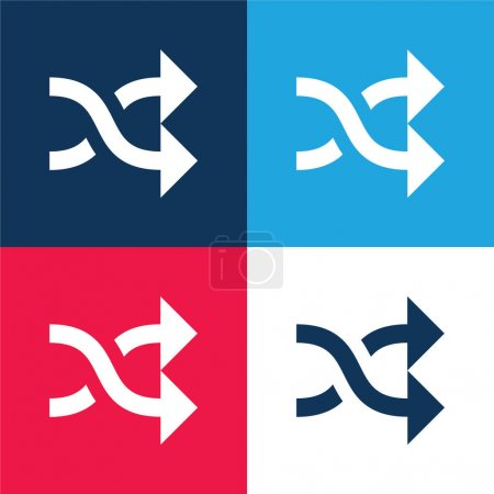 Arrows Crossed Couple blue and red four color minimal icon set