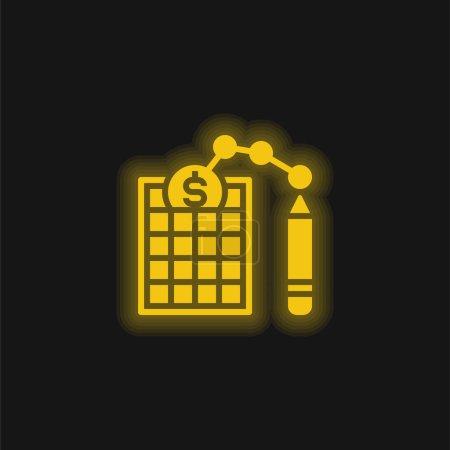 Bilan jaune brillant icône néon