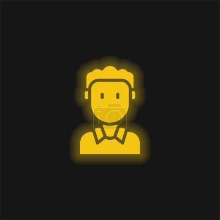 Boy yellow glowing neon icon