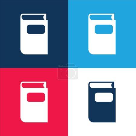 Illustration pour Livre brut Forme noire bleu et rouge quatre couleurs minimum jeu d'icônes - image libre de droit
