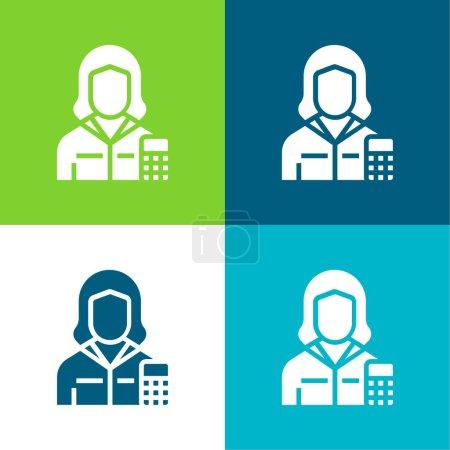 Accountant Flat four color minimal icon set