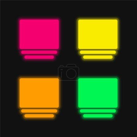 Illustration pour Album quatre couleurs brillant icône vectorielle néon - image libre de droit