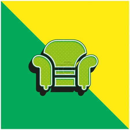Illustration for Armchair Green and yellow modern 3d vector icon logo - Royalty Free Image