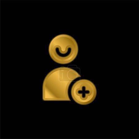 Illustration pour Ajoutez l'icône métallique plaqué or d'ami ou le vecteur de logo - image libre de droit