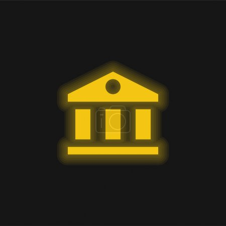 Illustration for Bank yellow glowing neon icon - Royalty Free Image