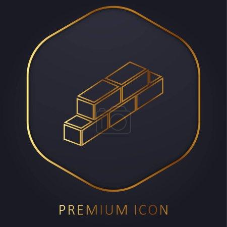 Illustration for Bricks golden line premium logo or icon - Royalty Free Image