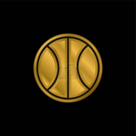 Illustration pour Ballon de basket-ball plaqué or icône métallique ou logo vecteur - image libre de droit