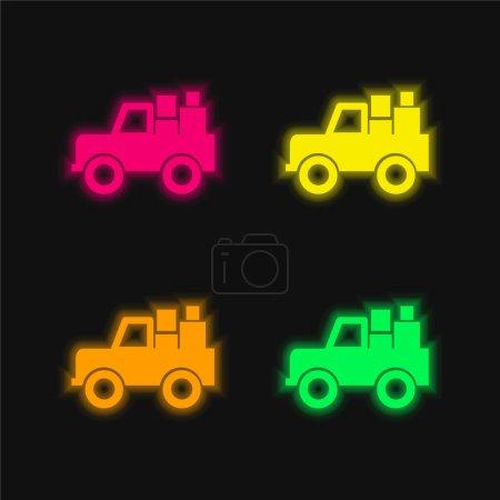Illustration pour Véhicule tout terrain avec cargaison quatre couleur brillant néon vecteur icône - image libre de droit