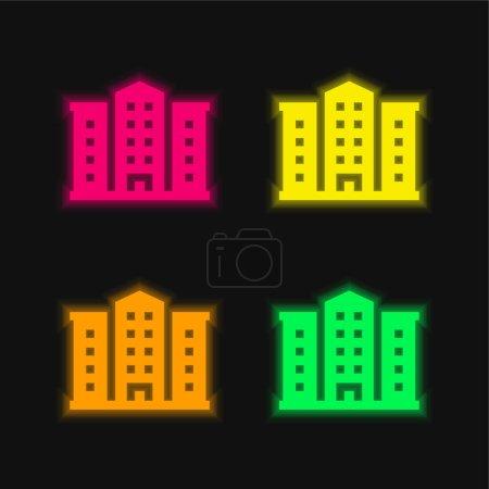 Illustration pour Appartement quatre couleurs brillant icône vectorielle néon - image libre de droit