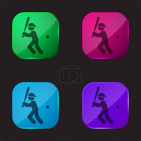 Illustration for Baseball Player With Bat Ball And Cap four color glass button icon - Royalty Free Image
