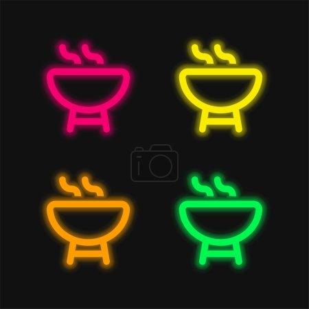 Barbacoa Esquema de cuatro colores brillante icono del vector de neón