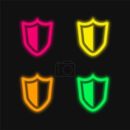 Illustration pour Grand bouclier de défense quatre couleurs brillant icône vectorielle néon - image libre de droit