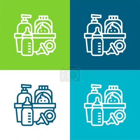 Baby Products Flat four color minimal icon set