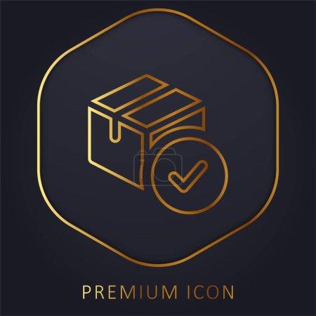 Illustration pour Approbation ligne d'or logo premium ou icône - image libre de droit