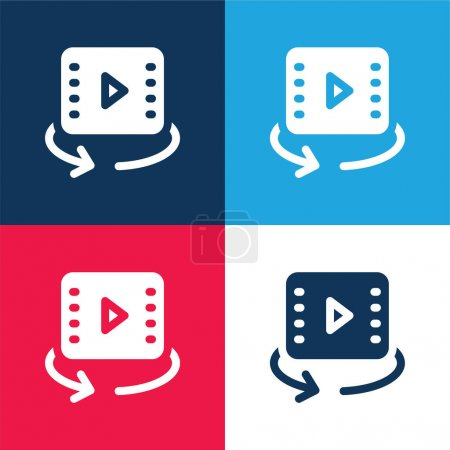 Illustration for 360 Video blue and red four color minimal icon set - Royalty Free Image