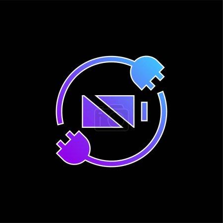 Illustration pour Statut de la batterie icône vectorielle dégradée bleue - image libre de droit